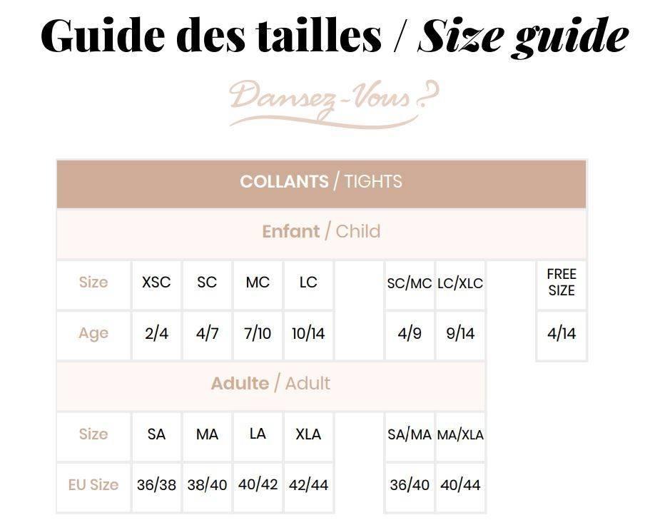 Guide des tailles pour les collants de la marque dansez vous
