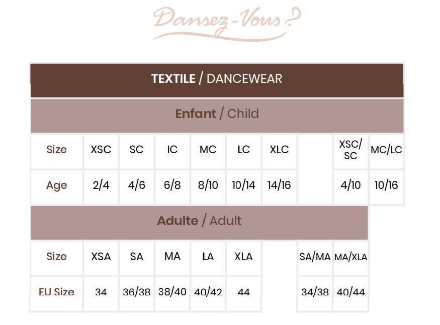 guide des tailles justaucorps dansez vous et autre textile